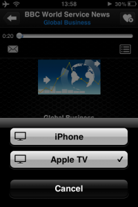 Selecting Apple TV as AirPlay destination in TuneIn Radio